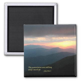 Puesta del sol en el Smokies: Mtns es llamada/Muir Imán Cuadrado