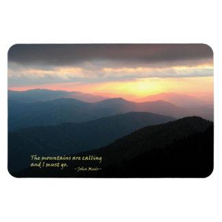 Puesta del sol en el Smokies: Mtns es llamada/Muir Imanes De Vinilo