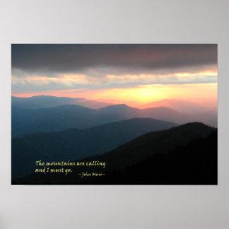 Puesta del sol en el Smokies Mtns es llamada Muir Posters