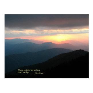 Puesta del sol en el Smokies: Mtns es llamada/Muir Tarjetas Postales