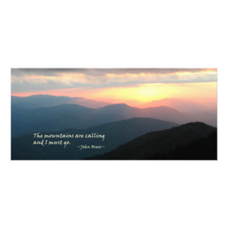 Puesta del sol en el Smokies: Mtns es llamada/Muir Tarjeta Publicitaria