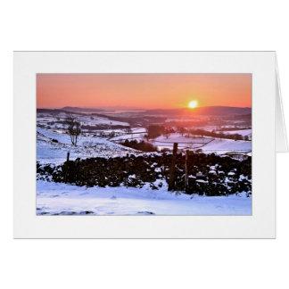 Puesta del sol en el timón, tarjeta de Navidad del