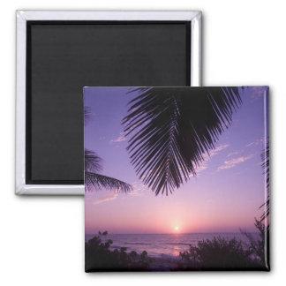 Puesta del sol en el West End, caimán Brac, Islas  Imanes De Nevera