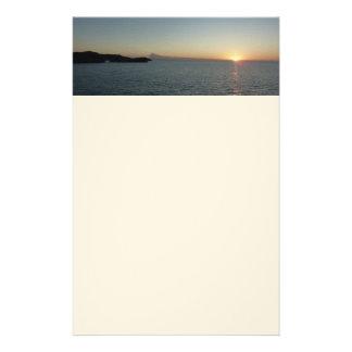 Puesta del sol en fotografía del paisaje marino de papelería personalizada