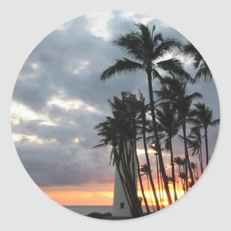 Puesta del sol en Hawaii Etiquetas Redondas