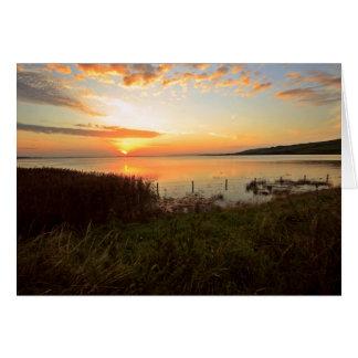 Puesta del sol en Kidwelly Quay Tarjeta De Felicitación