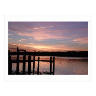 Puesta del sol en la bahía de Barnegat Postales