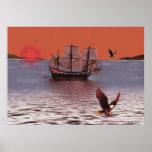 Puesta del sol en la bahía de Eagle Posters