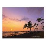 Puesta del sol en la bahía de Kahaluu en Kona, Haw Postales