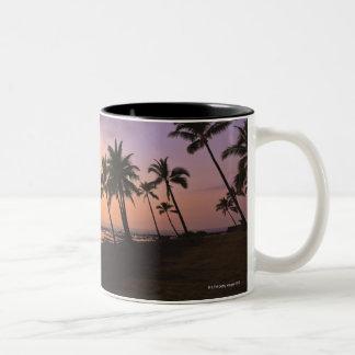 Puesta del sol en la bahía de Kahaluu en Kona, Haw Tazas De Café