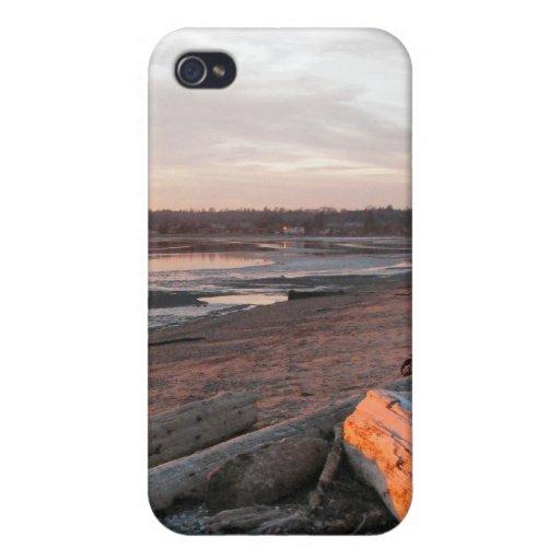 Puesta del sol en la bahía del abedul iPhone 4 carcasa