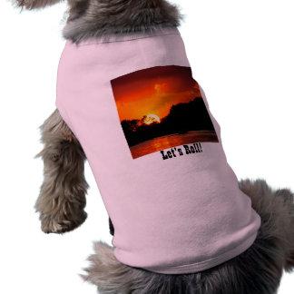 Puesta del sol en la cadena de los lagos playera sin mangas para perro