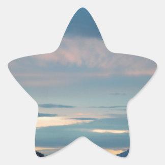 Puesta del sol en la carretera Alaska de Seward Pegatina En Forma De Estrella