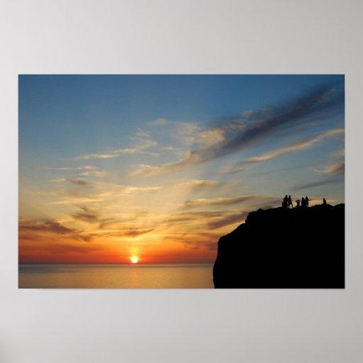 Puesta del sol en la ceja Caccia, Alghero, Cerdeña Póster