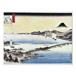 Puesta del sol en la cerda de Hiroshige Utagawa Invitación 10,8 X 13,9 Cm