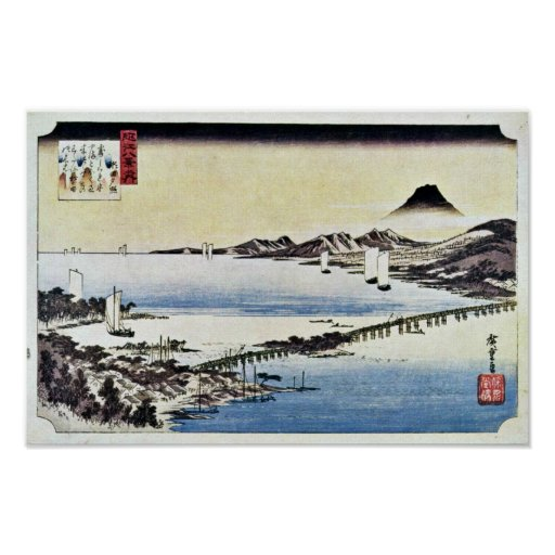 Puesta del sol en la cerda de Hiroshige Utagawa (l Impresiones