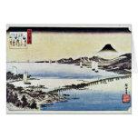 Puesta del sol en la cerda de Hiroshige Utagawa (l Tarjeta