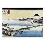 Puesta del sol en la cerda de Hiroshige Utagawa (l Tarjeta Postal