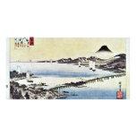 Puesta del sol en la cerda de Hiroshige Utagawa Tarjetas Fotograficas