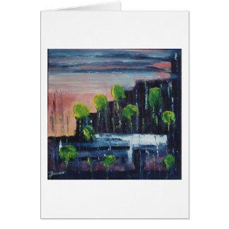 Puesta del sol en la ciudad (1) tarjeta de felicitación