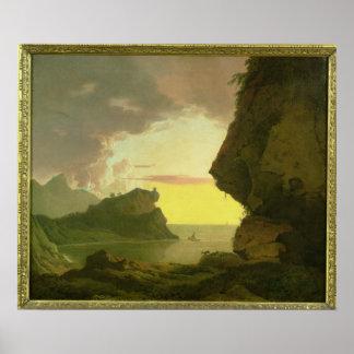 Puesta del sol en la costa cerca de Nápoles, c.178 Póster