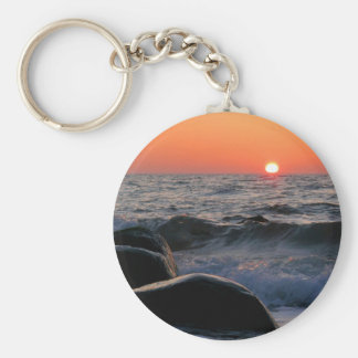 Puesta del sol en la costa de mar Báltico Llavero Personalizado
