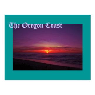 Puesta del sol en la costa de Oregon Postales
