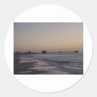 Puesta del sol en la Florida Pegatina Redonda