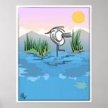 Puesta del sol en la impresión del poster del lago