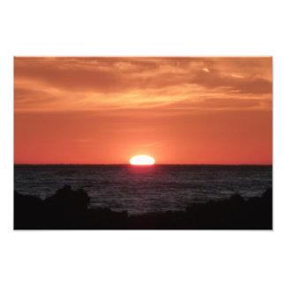 Puesta del sol en la impresión fotográfica del