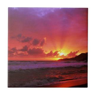 Puesta del sol en la isla teja