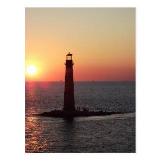 Puesta del sol en la isla de Daughin Tarjeta Postal