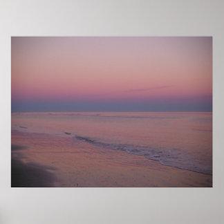 Puesta del sol en la isla de Sullivan, SC Póster
