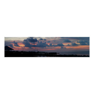 Puesta del sol en la isla del delfín póster