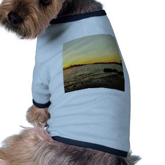 Puesta del sol en la llave del cedro camiseta con mangas para perro