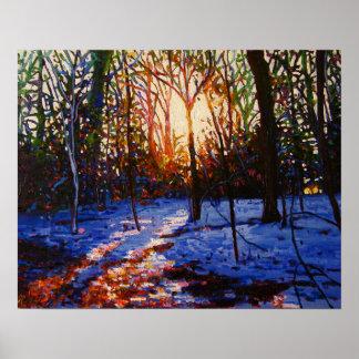 Puesta del sol en la nieve 2010 póster