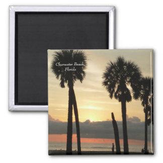 Puesta del sol en la playa de Clearwater Imán Cuadrado