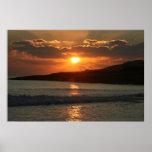 Puesta del sol en la playa de DA Luz del Praia, Al Posters