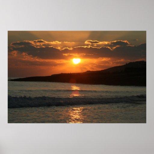 Puesta del sol en la playa de DA Luz del Praia, Al Póster
