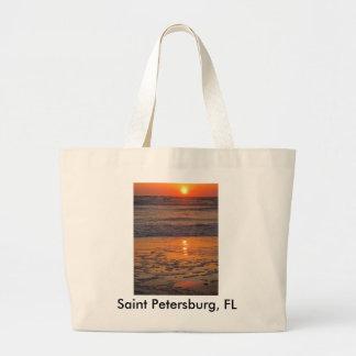 Puesta del sol en la playa de Pete del santo Bolsa Tela Grande