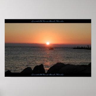 Puesta del sol en la playa de Venecia, la Florida Posters
