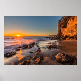 Puesta del sol en la playa de Victoria Poster