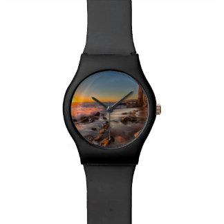 Puesta del sol en la playa de Victoria Relojes De Pulsera