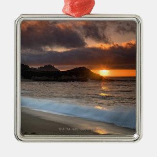 Puesta del sol en la playa del monasterio, Carmel, Adorno Navideño Cuadrado De Metal