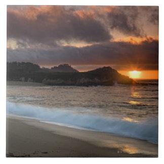 Puesta del sol en la playa del monasterio, Carmel, Teja Cerámica