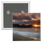 Puesta del sol en la playa del monasterio, Carmel, Pin Cuadrada 5 Cm