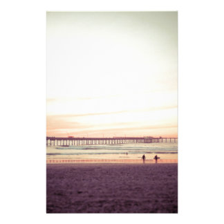 Puesta del sol en la playa del océano, California Papeleria De Diseño