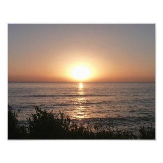 Puesta del sol en la playa del océano, San Diego Impresión Fotográfica