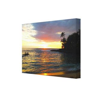 Puesta del sol en la playa impresión en lienzo