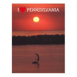 Puesta del sol en la postal de la isla de Presque